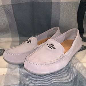 NWOT COACH GREY MARY LOCK UP SUEDE LOAFERS!!!